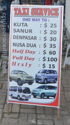 Bali cruise taxi prices