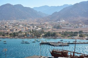 View from the ship in the cruise port of Aqaba