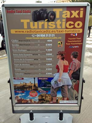 Cruise taxi prices Cadiz Spain