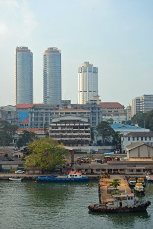 View from cruise ship over skyline fort Colombo