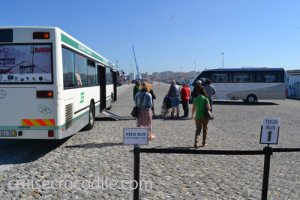Cruise port shuttle bus to exit of Leixoes port