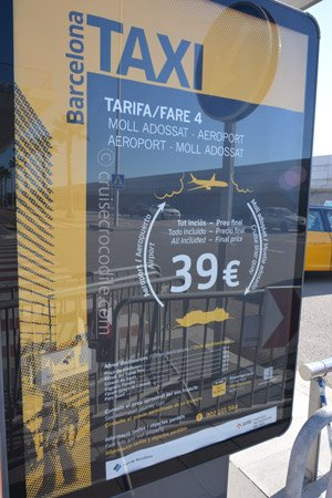 Cruise taxi prices in Barcelona