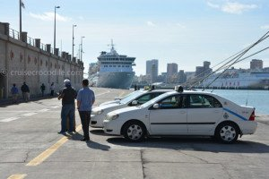 Taxis waiting at the cruise dock for cruise guests