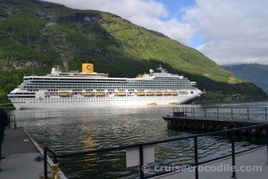 Cruise ship in port of Geiranger