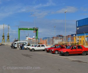 taxis at the cruise pier in Casablanca