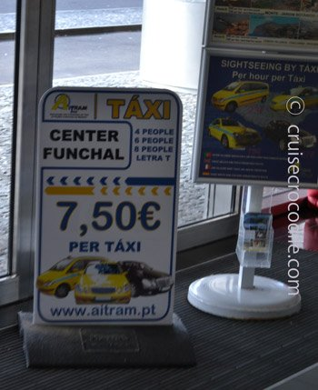 Taxi prices cruise terminal Funchal to city centre
