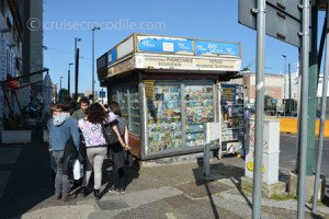 Kiosk for public transport tickets at cruise terminal Naples.