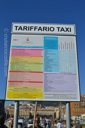 Cruise terminal taxi prices for Naples