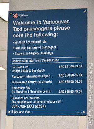 Vancouver taxi prices from cruise terminal