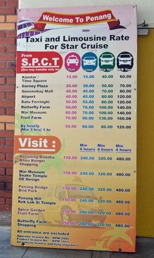 Penang cruise terminal - taxi prices