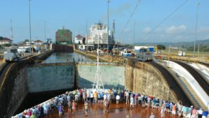 Cruise ship in Panama Canal Gatun locks