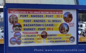 Iraklion's cruise taxi prices