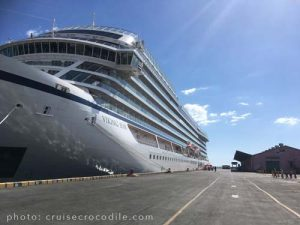 Viking cruise ship docked at Corinto cruise port