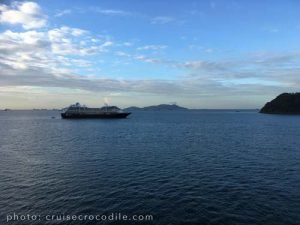 Cruise ship at anchor in Fuerte Amador